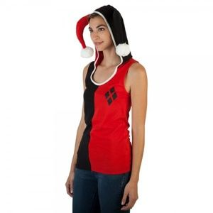 DC Comics Harley Quinn Hooded Tank Top with Ears